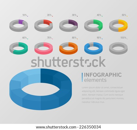 Set of colorful 3d circle charts for infographics  - stock vector