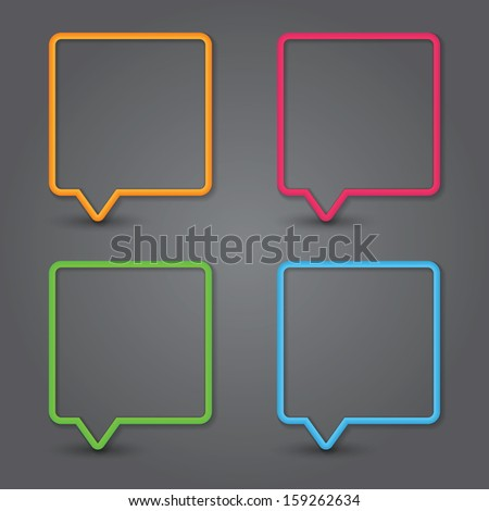Set of colorful 3d speech bubbles. Vector - stock vector