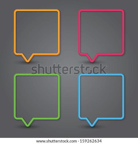 Set of colorful 3d speech bubbles. Vector - stock vector