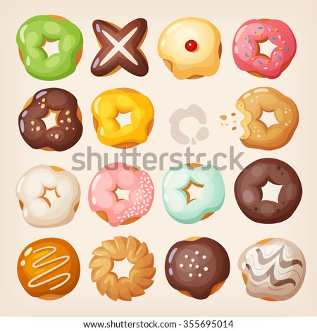 Set of colorful delicious doughnuts of different kinds in a box