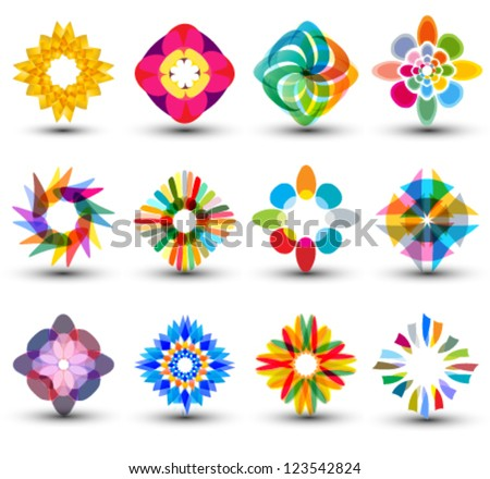 set of colorful design elements, icons, logo set - stock vector