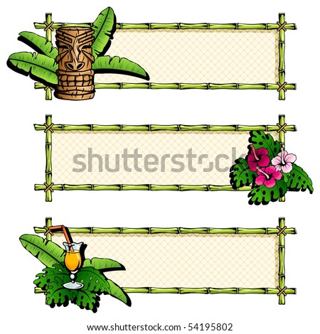 Set of colorful, detailed hawaiian banners. Can be used without inked outline (Eps10); jpg version also available - stock vector