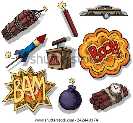 set of colorful different bombs, explosions, isolated on white, vector illustration - stock vector