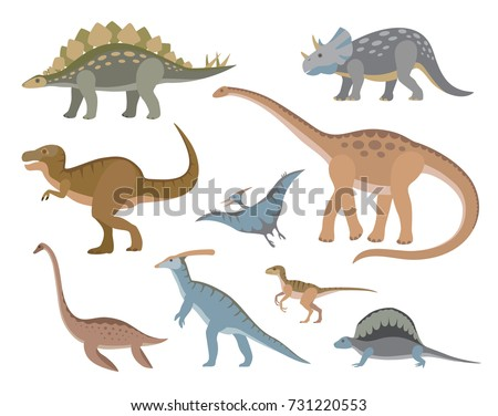 Set of colorful dinosaurs isolated on a white background. Retro colors