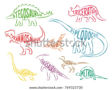 Set of colorful dinosaurs with lettering, isolated on white background, contours, vector illustration.