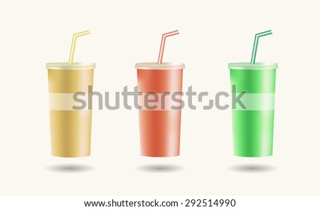 Set of colorful disposable cups for beverages with straw. Vector illustration. - stock vector