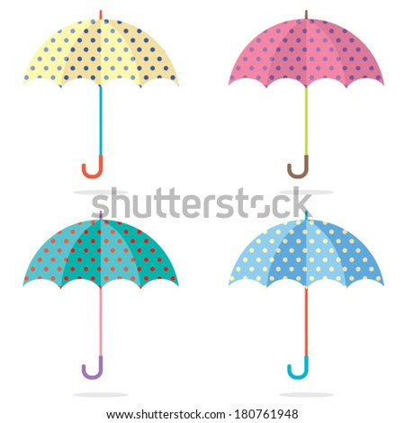 Set Of Colorful Dots Umbrellas - stock vector