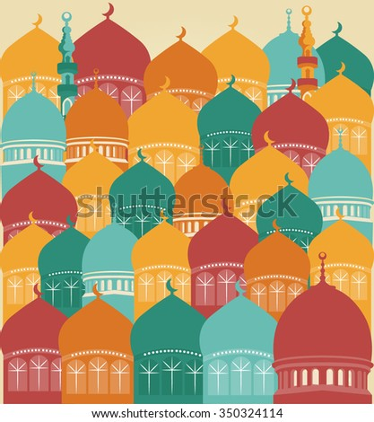 Set Of Colorful Drawings Of Mosques - stock vector