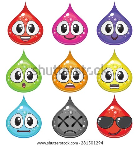 Set of colorful drops with different emotions for game design - stock vector