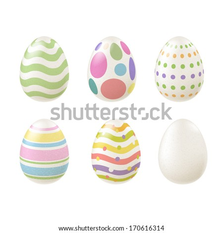 Set of colorful Easter eggs in pale colors. Realistic eggs, decorated with waves, dots, lines. - stock vector