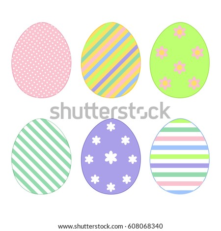Set Colorful Easter Eggs Templates Shape Stock Vector 608068340