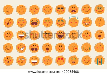 Set of colorful emoticon icons in sun shape. Emoji concept isolated on white background. Flat design. Vector illustration.  - stock vector