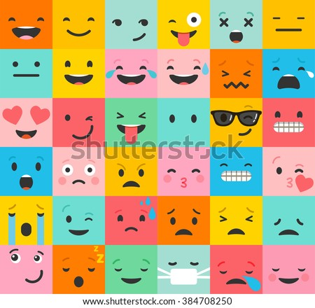 Set of colorful emoticons, emoji flat backgound pattern