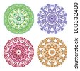 Set of colorful ethnicity round ornament, mosaic vector illustration - stock photo