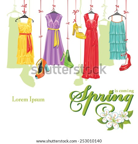 Set of Colorful fashion cocktail dresses and high heel shoes hang on a ribbon.Design template Casual and festive.Fashion illustration.Headline spring is coming.Square composition,background.Vector - stock vector