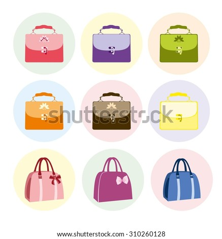 Set of Colorful Female Handbags in vintage style, Color bags vector illustration isolated on white background. Woman vector handbags color set. - stock vector