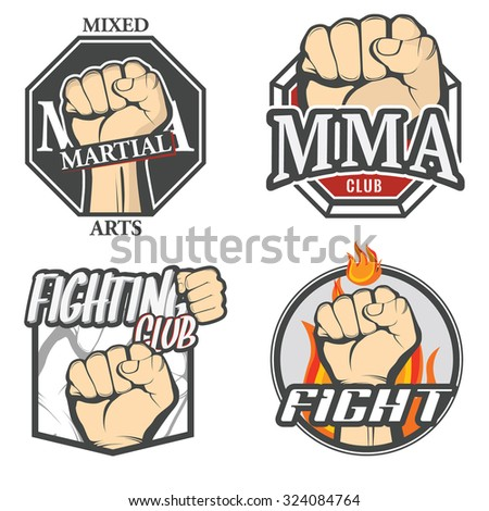 Set of colorful fighting icons, MMA labels, logos, fight club badges, signs and design templates. Vector. - stock vector