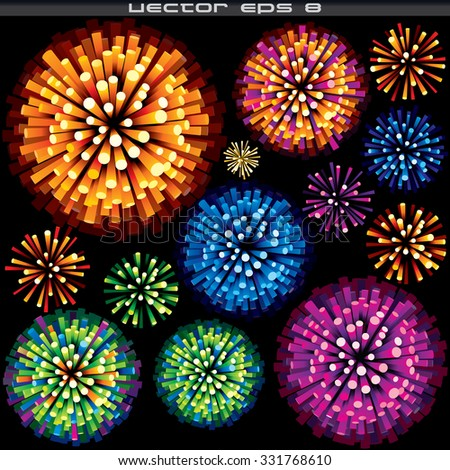 Set of Colorful Fireworks and Explosions. Ready for Your Design. - stock vector