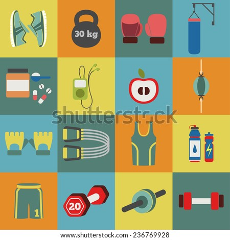 Set of colorful fitness icons for girls. Vector illustration of sport symbols in flat style on multicolored squares background - stock vector
