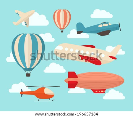 Set of colorful flat air transports - stock vector