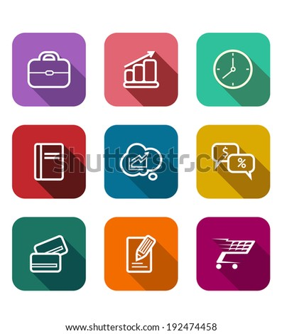 Set of colorful flat business web icons depicting a briefcase, bank card, graph, tablet, clock, sales, dollars, percent, trolley, cart and cloud computing - stock vector