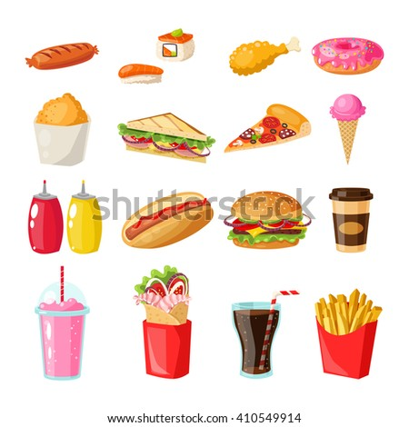 Set of colorful flat cartoon illustration of fast food icons. Isolated vector. Illustration burger, beverage, rolls, sandwiches, desserts menu for fast food cafe, design brochures, posters. - stock vector