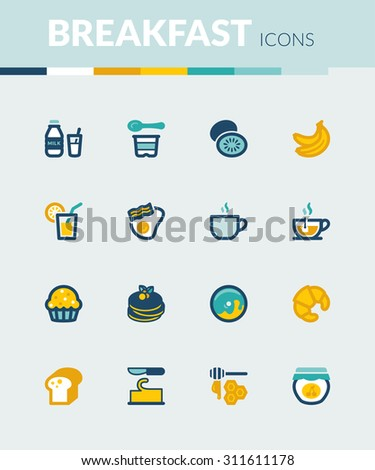 Set of colorful flat icons about  breakfast. - stock vector