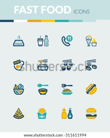 Set of colorful flat icons about fast food and junk food - stock vector