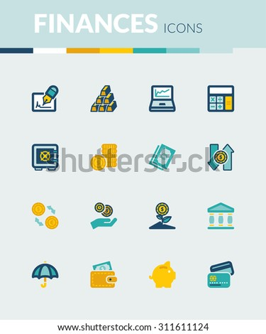 Set of colorful flat icons about  finances - stock vector