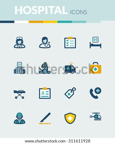 Set of colorful flat icons about  healthcare. Hospital and emergency. - stock vector