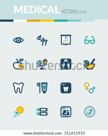 Set of colorful flat icons about  healthcare. Nutrition. Dental. Ophthalmology. Pregnancy - stock vector