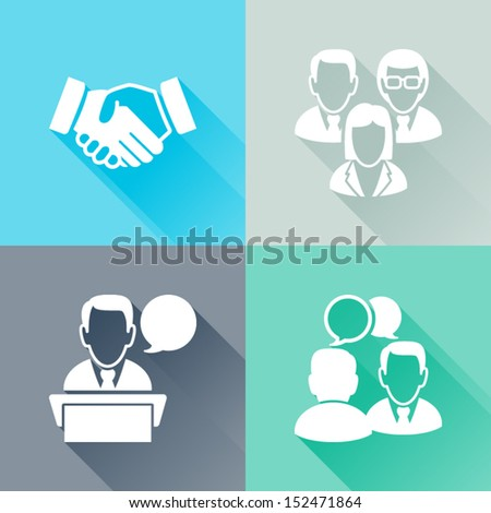 Set of colorful flat icons about meeting Business concept - stock vector