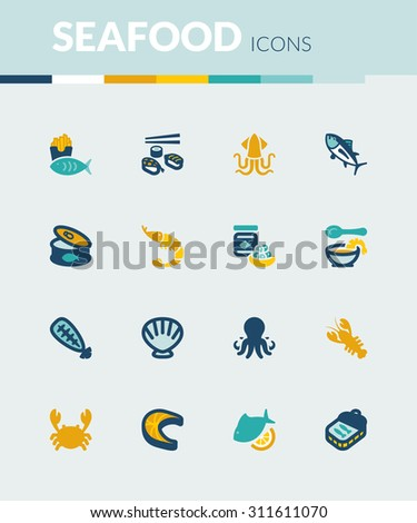 Set of colorful flat icons about  seafood. - stock vector
