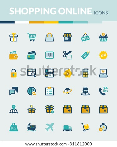 Set of colorful flat icons about shopping online - stock vector