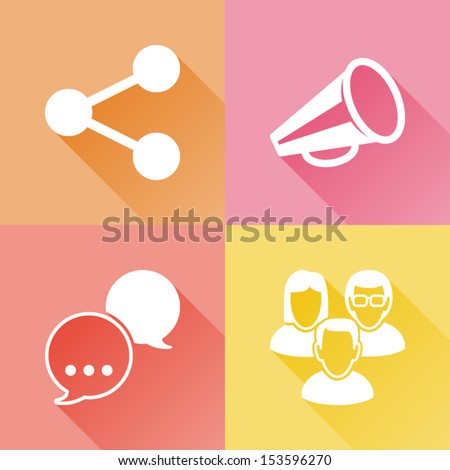 Set of colorful flat icons about social media - stock vector