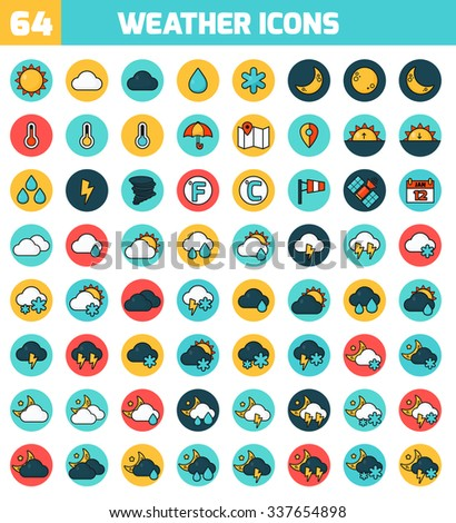 Set of colorful flat icons about the weather. Weather Forecasting Vector Icon Set. Vector Illustration. - stock vector