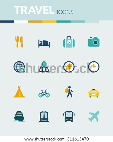 Set of colorful flat icons about  travel - stock vector