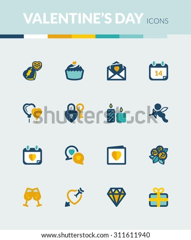 Set of colorful flat icons about  Valentines Day - stock vector