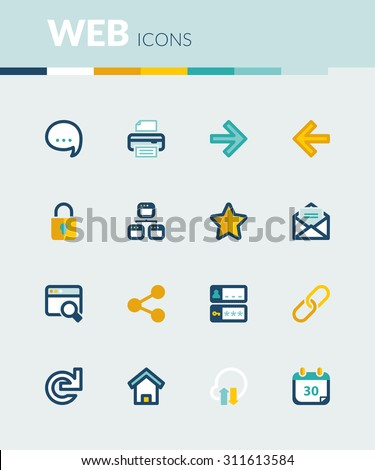 Set of colorful flat icons about  web - stock vector