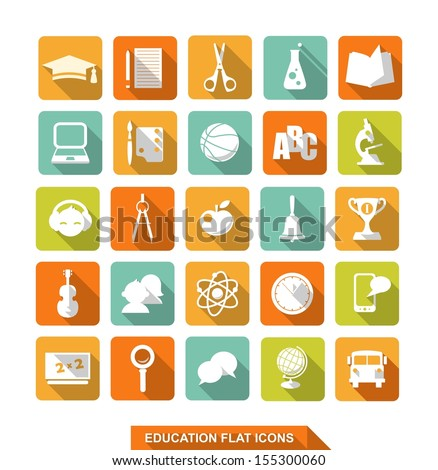 Set of colorful flat school and education icons with shadow - stock vector