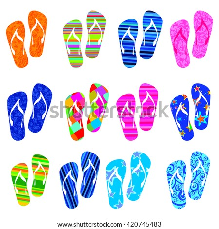 set of colorful flip flops isolated on white background. Collection of design elements. Vector illustration