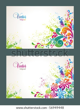 Set of colorful flower background. - stock vector