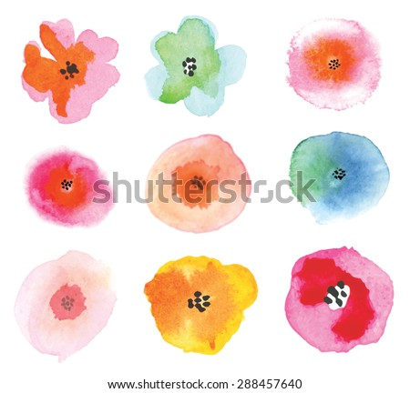 Set of colorful flowers. Beautiful floral elements. Watercolor vector illustration. - stock vector