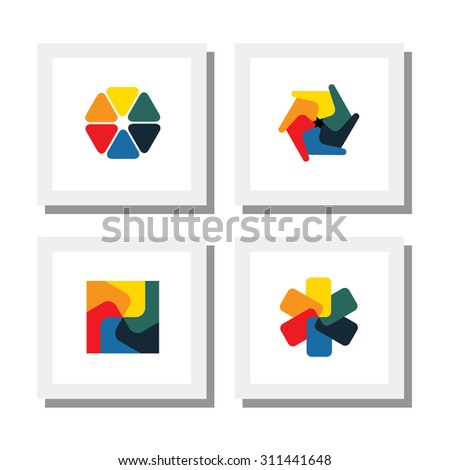 set of colorful flowers, floral designs - vector icons. this also represents concepts like fan, children's playing toy, pinwheel, windmill, spin wheel, plastic toy - stock vector