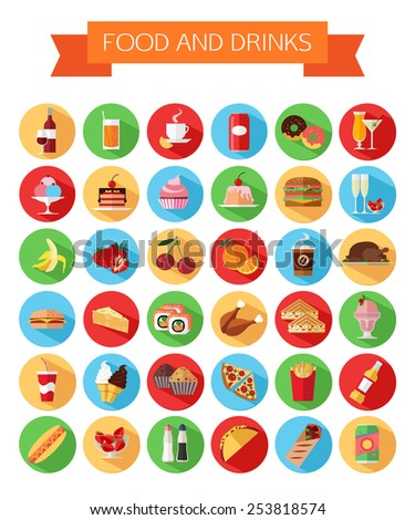 Set of colorful food and drinks icons. Flat style design isolated icons with long shadow. Vector illustration. - stock vector