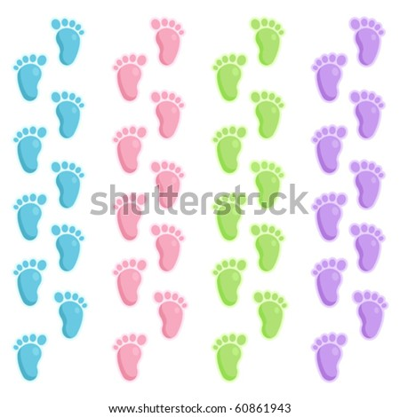 Set of colorful footprints. Could be use as borders or separately