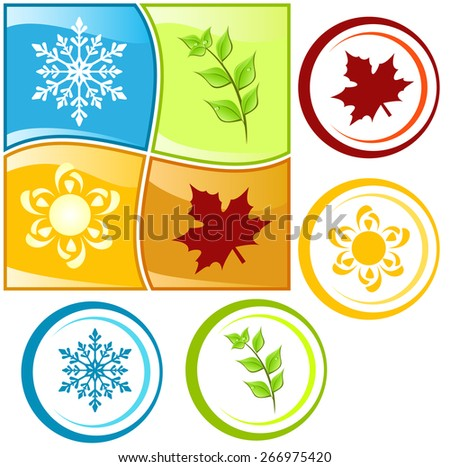 Set of colorful four seasons icons - stock vector