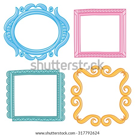 set of colorful frame doodle - stock vector