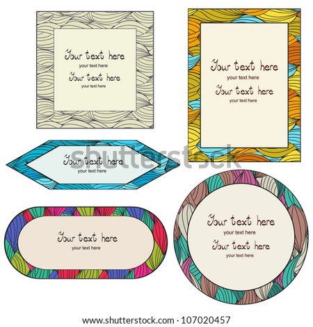 Set of colorful frames on hand-drawn pattern, waves background with place for your text