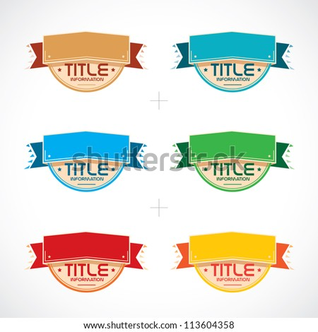 Set of Colorful Frames, Stickers, Labels, Icons, Sign, Symbol, Logo - stock vector
